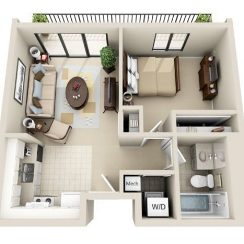 3d floor plan image 2 for the 1 bedroom studio floor plan for Small house floor plans