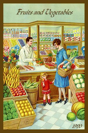 Fruits and Vegetables in Store 1920. Quilt Block printed on cotton. Ready to sew.  Single 4x6 block $4.95. Set of 4 blocks with free Wall Hanging Pattern $17.95.