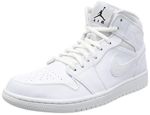 Nike Jordan Men's Air Jordan 1 Mid White/Black/White Basketball Shoe 9.5 Men US