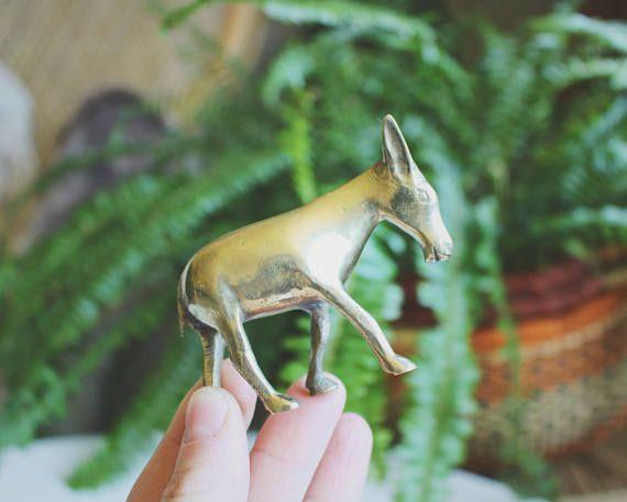 Brass Figurine Vintage Brass Donkey Mid Century Modern Art