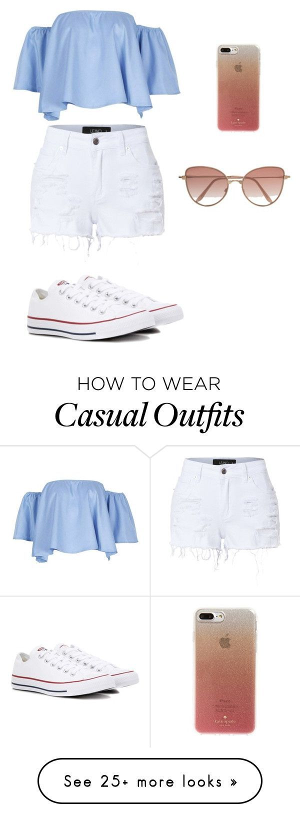 Summer time casual by caitlyn-hogan on Polyvore featuring LE3NO, Converse, Kate Spade and Cutler and Gross