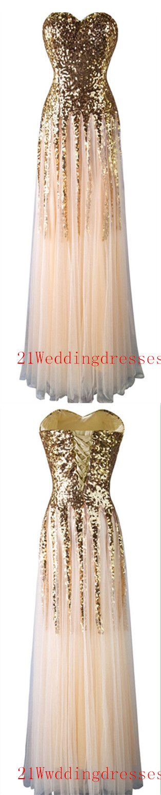Real Sequin Shiny Gold Prom Dresses,Long Prom Dresses,Strapless Evening Dresses…