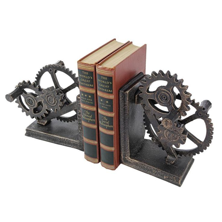 Industrial Gear Iron Bookends