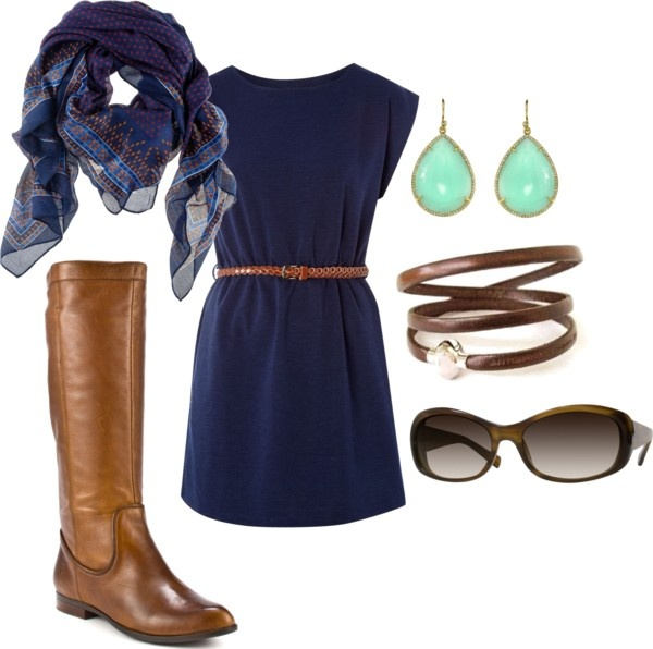 """""""Casual Dress and Boots"""" by amy-boley on Polyvore"""