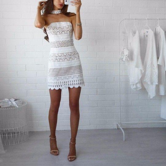 Sotris Mini Choker Lace Dress