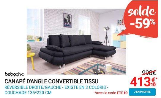 Bobochic Canapé d'angle convertible tissu 4 places NESTOR