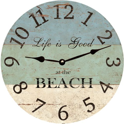 "<p> From San Diego California to Daytona Beach Florida ""<span style=""font-weight: bold;"">Life Is Good at the Beach</span>""! Our Beach Clock features large easy to read numbers and a rustic 3 tone color scheme. White to represent the sand, aqua to represent the water and light blue for the sky.<br /> This clock are produced with fade-..."