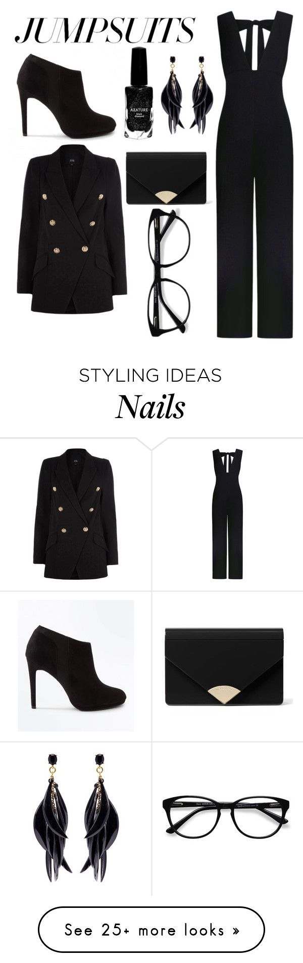 """Black is back"" by rsuperstar101 on Polyvore featuring Ganni, New Look, Azature, MICHAEL Michael Kors, Oscar de la Renta, EyeBuyDirect.com and jumpsuits"