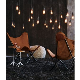 I love these utility lights as room lighting. My boyfriend wants to replace his ugly chandelier with track lighting, but I'm thinking this would be better.