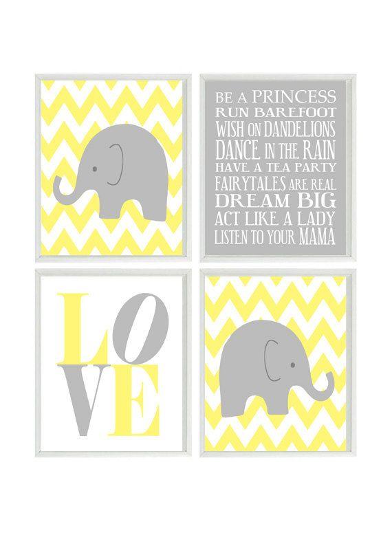 Grey Girl Wall Decor : Elephant nursery art chevron wall gray yellow