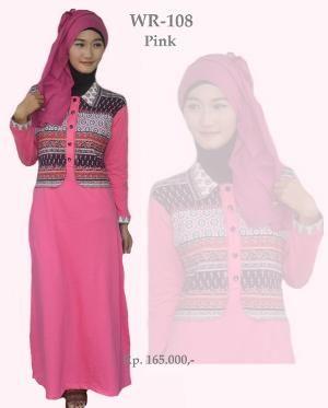 Baju Longdress  Gamis Wanita WR-108 Pink