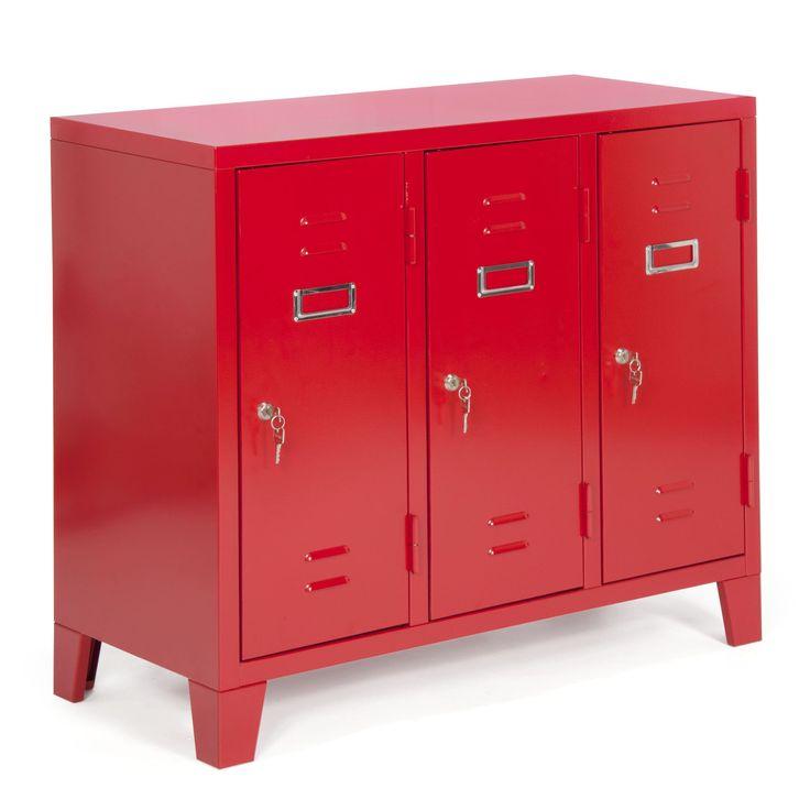 Caisson de bureau 3 portes en acier rouge larsen les - Alinea rangement bureau ...