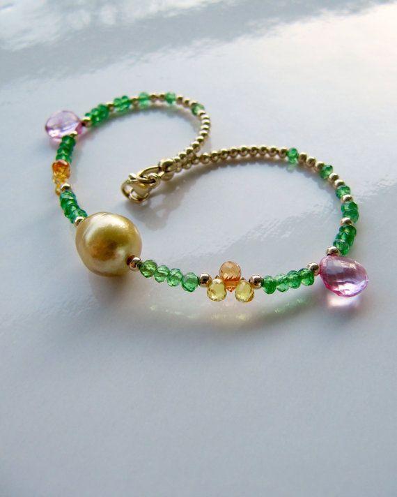 Layering stacking bracelet tsavorite by MariaCossuttaMonaco