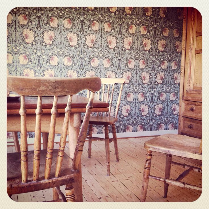 William Morris. Pimpernell in the dining area and livingroom.