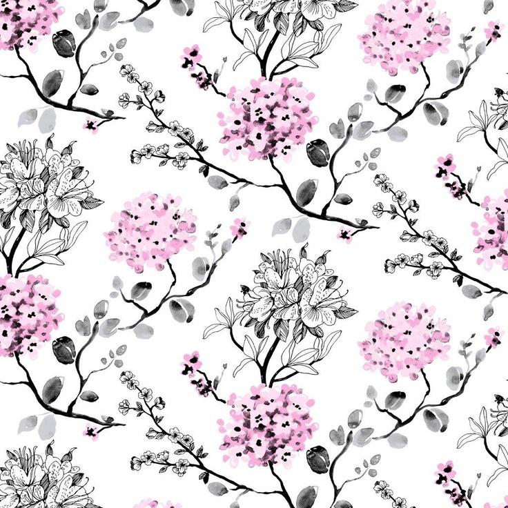 Melissa wallpaper, pink. Design Tanja Orsjoki
