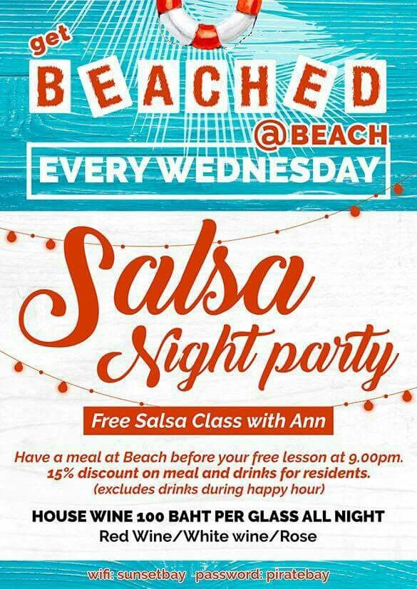 Hola, Salseros! Come and enjoy the BEACH SALSA NIGHT on Wednesday, 31st May @ BEACH !! New look, new food, new atmosphere! 9:00 pm - 9:45 pm - Salsa basics with Ann 9:45 pm - midnight - Salsa/Bachata/Kizomba Party Music: played by DJ Ann Grape  Looking forward to seeing you all !! #samuilatinfiesta #beachsalsanight #samui #salsathailand #djanngrape #anngrapedancer #salsa #bachata #kizomba #passion #latindancing #danceclasses