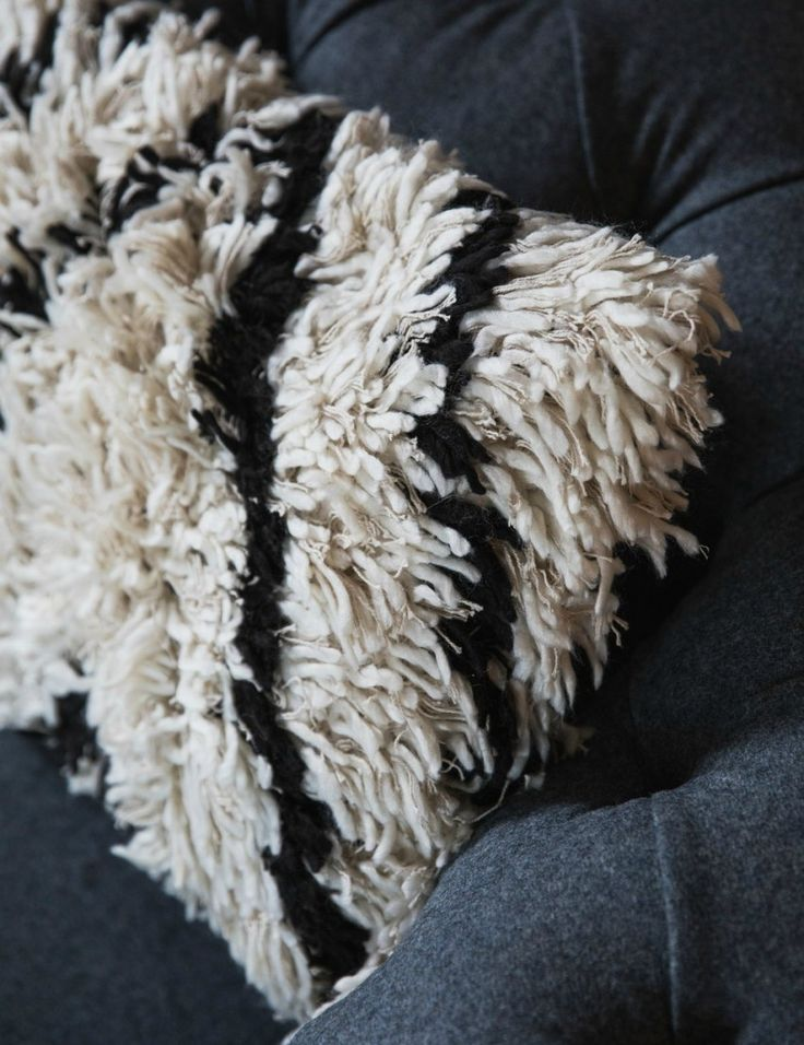 Black and White Shaggy Cushion at Rose & Grey