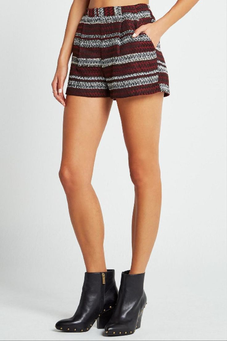 Jacquard striped tweed shorts feature a banded waist, slashed hip pockets and a concealed hook and eye and zip closure at back.   Jacquard Striped Shorts  by BCBGeneration. Clothing - Shorts - Mini Alabama
