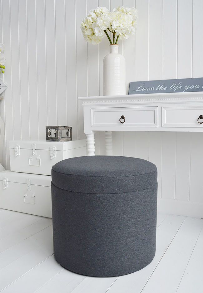 Westhampton Grey Storage Soft Dressing Table Stool For Grey And White Bedroom Furniture From The White Lighthouse L