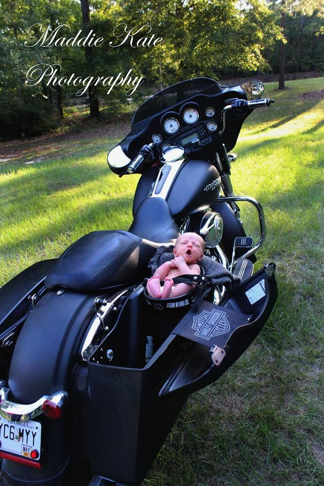 Newborn photography. Harley Davidson. The baby's mother was ducked behind the bike to keep baby steady. PLEASE use caution when photographing newborns.