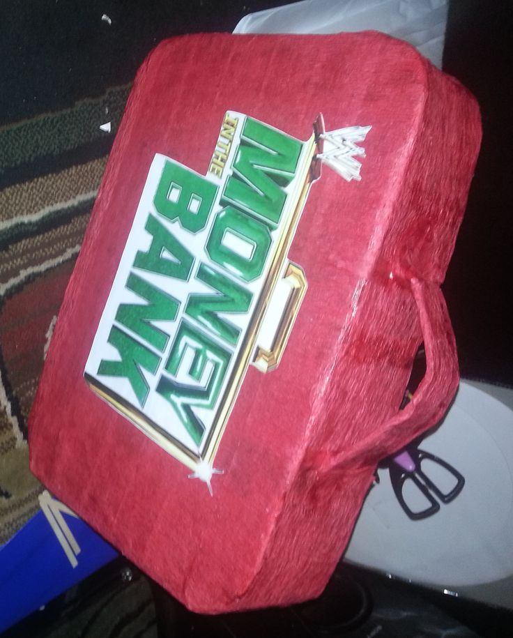 Handmade Money In the Bank Birthday Pinata made by me WWE birthday party