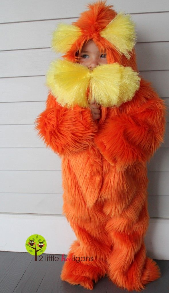 one-piece lorax costume..... not sure I'd have the patience to make this one. There's a matching gorgeous bar-ba-loot costume on the same page!