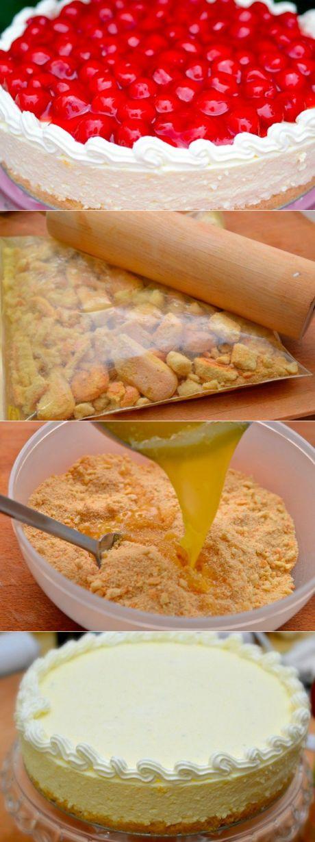 Лимонный чизкейк (без выпечки).   Ингредиенты:  Бисквитное печенье — 250 г  Масло сливочное — 130 г  Сахар — 160 г  Вода — 125 мл  Желатин — 15 г  Яйца куриные — 6 шт.  Лайм (лимон) — 1 шт.  Кремчиз Филадельфия — 500 г  Сливки 33% — 400 мл  Топинг фрукты, ягоды, варенье, джем
