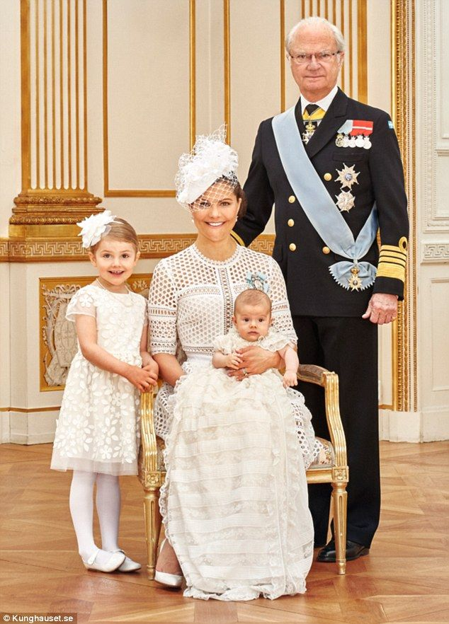 Proud grandfather King Carl XVI Gustaf also got his moment in the spotlight, posing solo w...