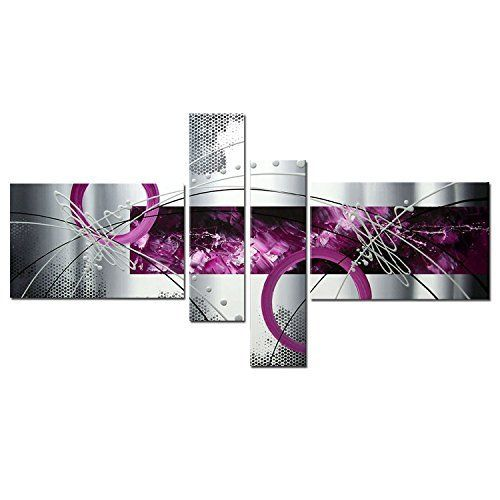 h cozy r glez peinture l 39 huile abstraite moderne violet gris argent lines sur toile wall art. Black Bedroom Furniture Sets. Home Design Ideas