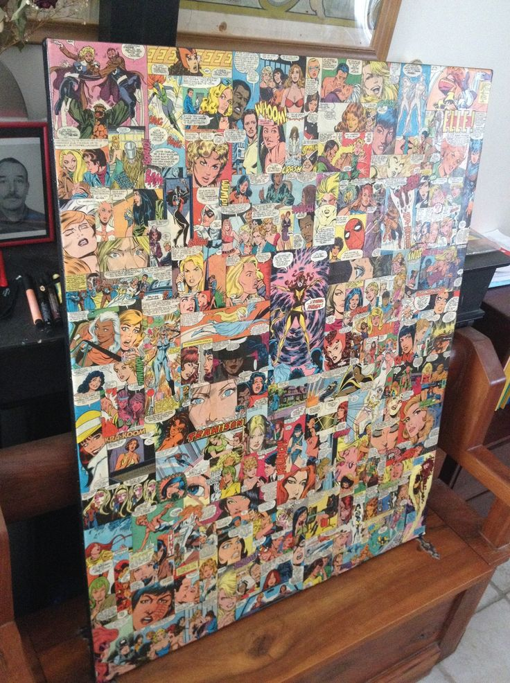 Collage de comics années 70-80 sur toile ayant pour thème les femmes : Décorations murales par marvelles