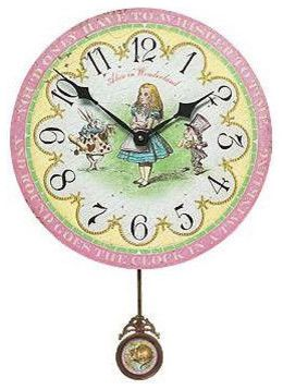 Timeworks Clocks Alice in Wonderland 13 Wall Clock traditional kids decor
