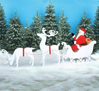 Reindeer Sleigh Amp Santa Collection Large Size