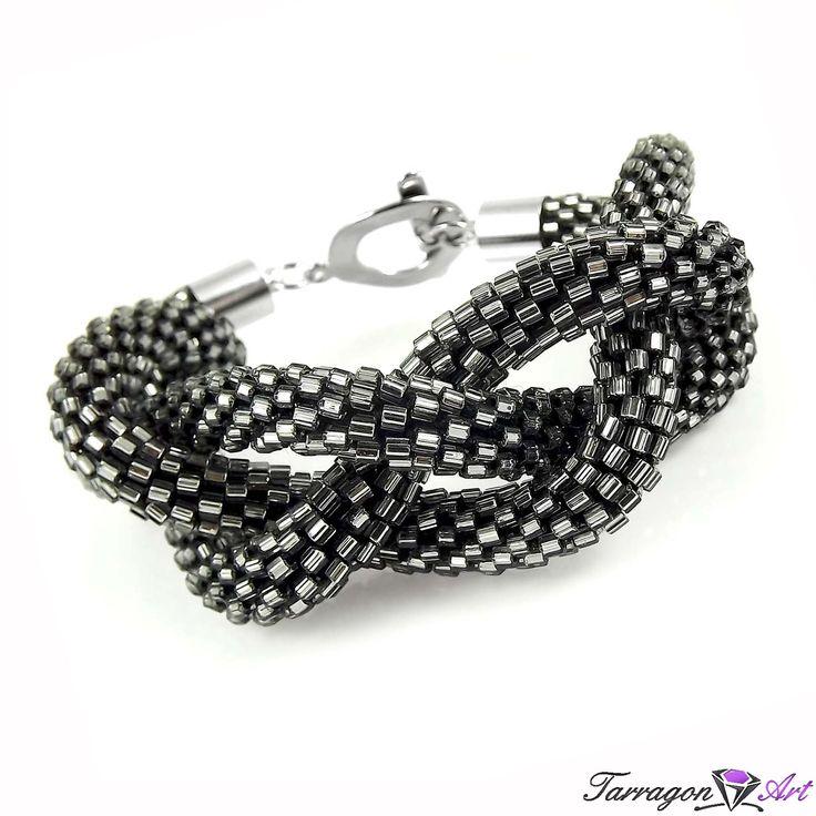 Bransoletka szydełkowo koralikowa Seed Beads - Sparkling Grey - Seed Beads / Bransoletki - Tarragon Art - stylowa biżuteria artystyczna