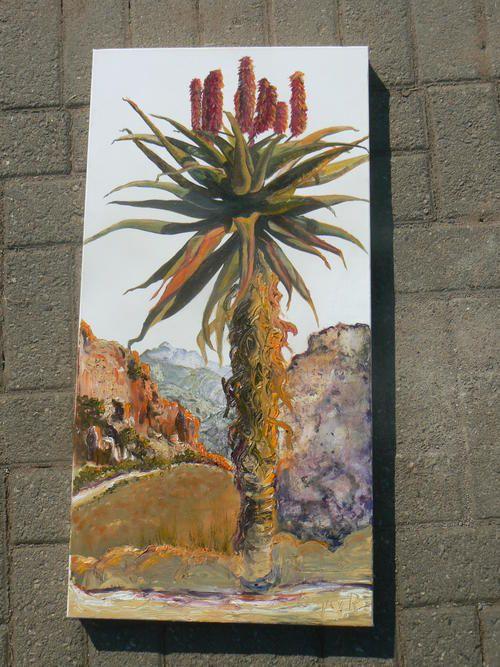 """Aloe"" Oil Painting on Canvas by Louma van Rooyen - 15"" x 30"""