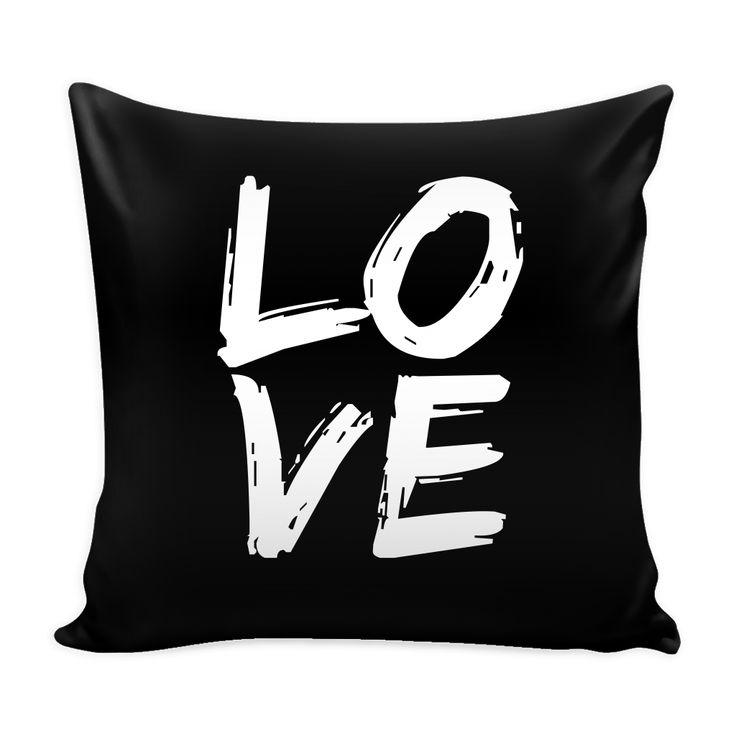 LOVE - Black Pillow Cover