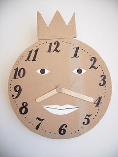 Great way to learn to tell time. We will modify the hands using more cardboard and a brad so we can move them around.