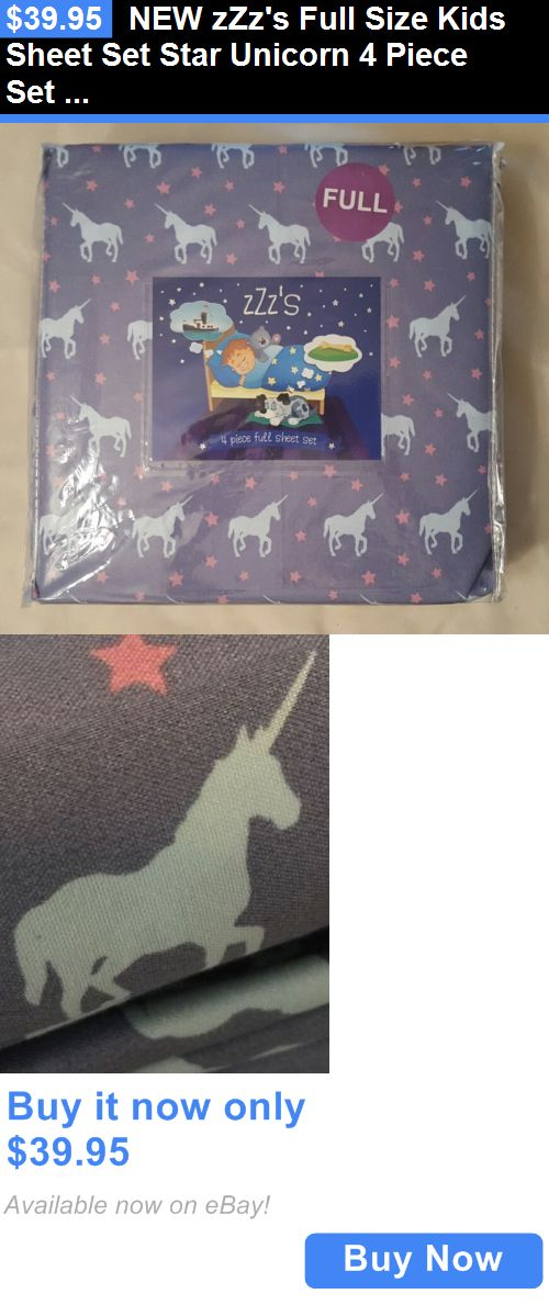 Kids at Home: New Zzzs Full Size Kids Sheet Set Star Unicorn 4 Piece Set Blue And Pink BUY IT NOW ONLY: $39.95