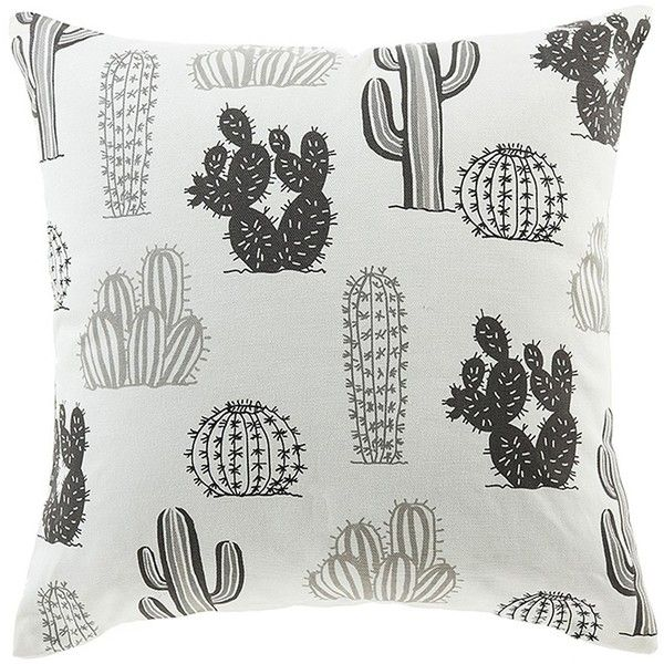 Peking Handicraft Black/White Cactus Print Throw Pillow - 16x16 ($19) ❤ liked on Polyvore featuring home, home decor, throw pillows, black and white, black and white home accessories, southwest throw pillows, southwestern throw pillows, black and white accent pillows and black white home decor