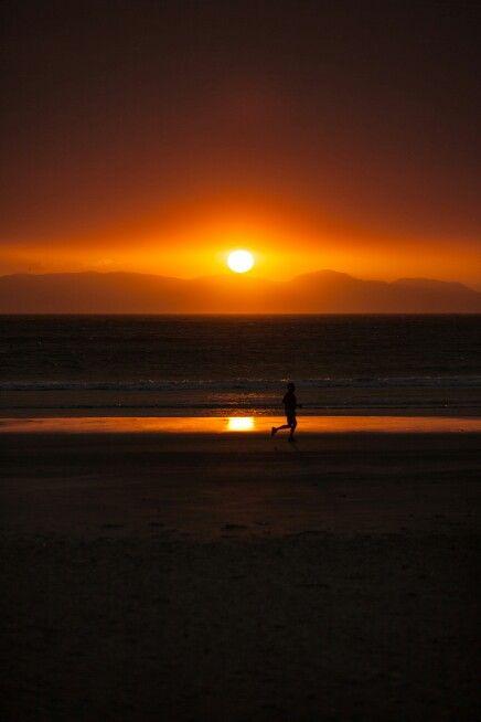 Fiery sunset. Strand beach, SA