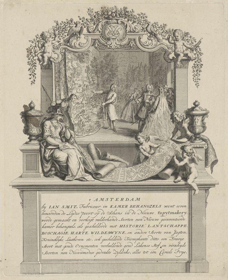 Adolf van der Laan   Adreskaart van Jan Smit, fabrikant van kamerbehangsels, Adolf van der Laan, 1734   Adreskaart van Jan Smit, fabrikant van kamerbehangsels. Op de voorgrond aanschouwt Minerva het behang dat door drie putti voor haar voeten is uitgerold. Hierachter toont de fabrikant een behangsel aan een aantal klanten. Het geheel is gevat in een architecturale omlijsting die van boven versierd is met putti, bloemen, vruchten, pagegaaien en een monogram. Onder een opschrift van negen…