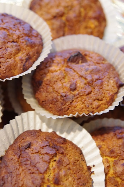 Muffins with carrots, chocolate  and balsamic vinegar