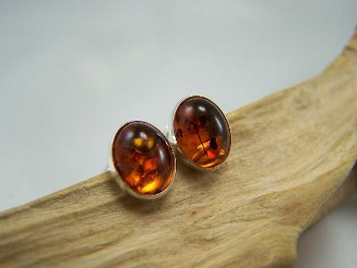 A cognac colour amber oval stud earrings.