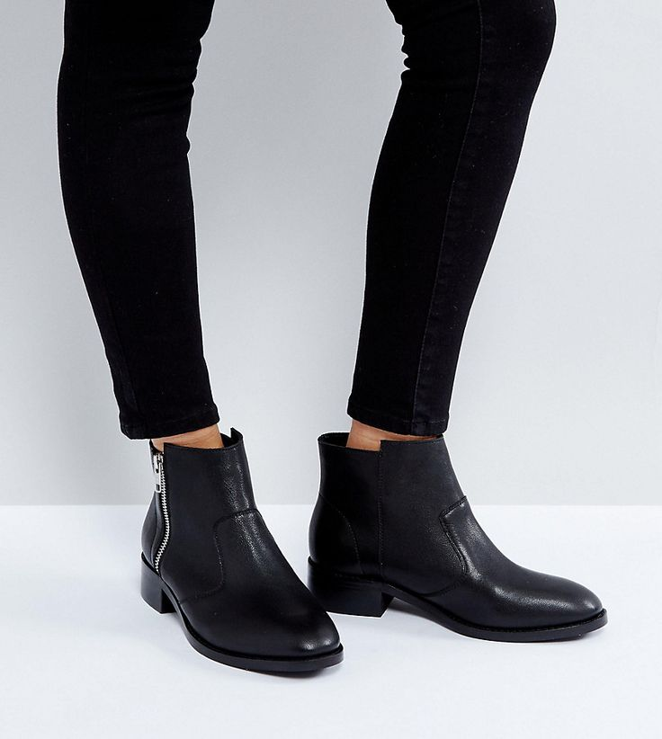 ASOS AMPLE Leather Zip Ankle Boots - Black