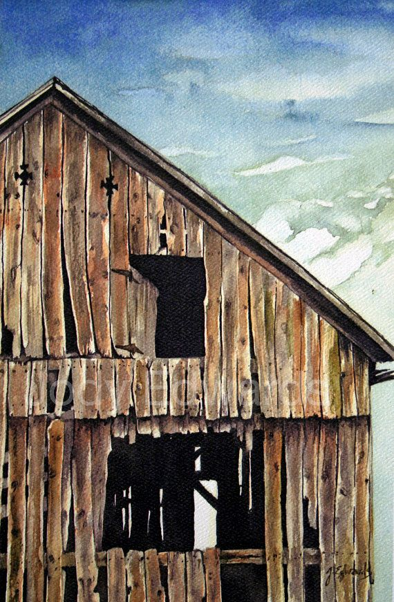 "Barn Watercolor ""Old Magic"" - Archival Quality Limited Edition Print. $20,00, via Etsy."