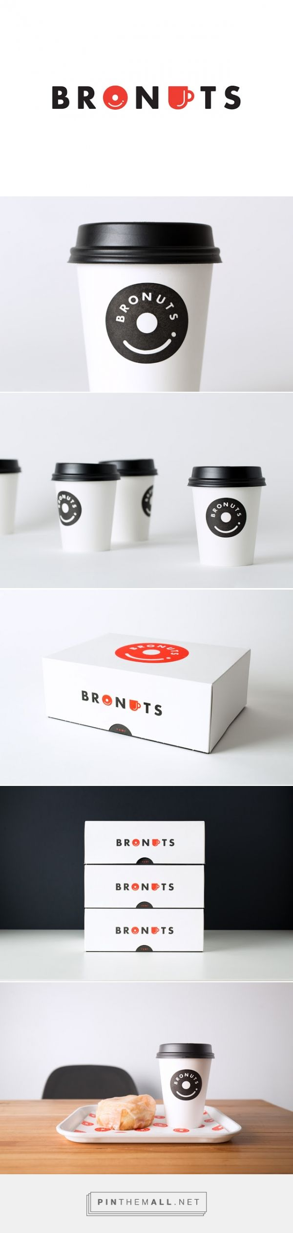 Bronuts Donuts packaging designed by One Plus One Design - http://www.packagingoftheworld.com/2015/11/bronuts-donuts.html