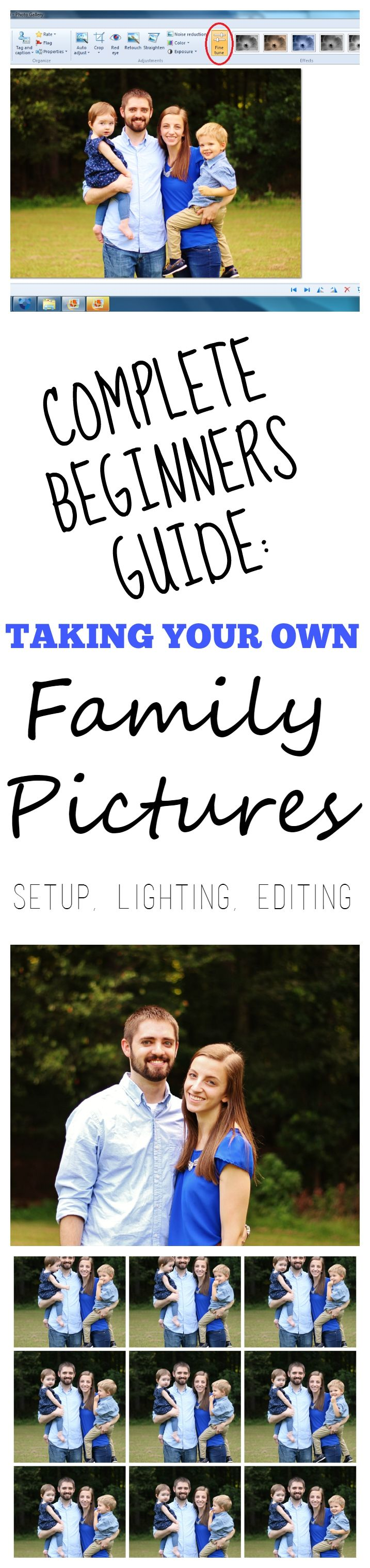 Everything you need to know when taking your own family pictures, from editing, lighting, setup, and camera settings!