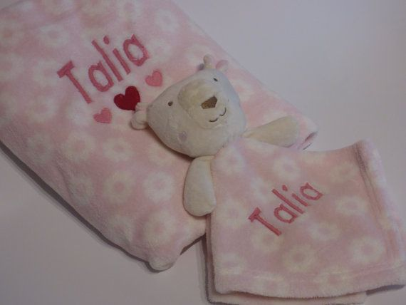 Personalised baby blanket and matching comforter set Georgeous pink blanket with matching pink bunny comforter. You can personalise with any name, just message us when you place your order. You can also add a date of birth to the blanket if you wish.  Blanket is approx 92cm x 85cm. Once opened, the comforter is approx 37cm x 37cm  Both the blanket and the comforter are nice and soft and are of great quality.