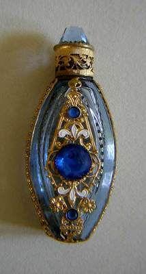 VINTAGE PERFUME BOTTLE ORMOLU ICE BLUE GLASS ENAMEL SMALL