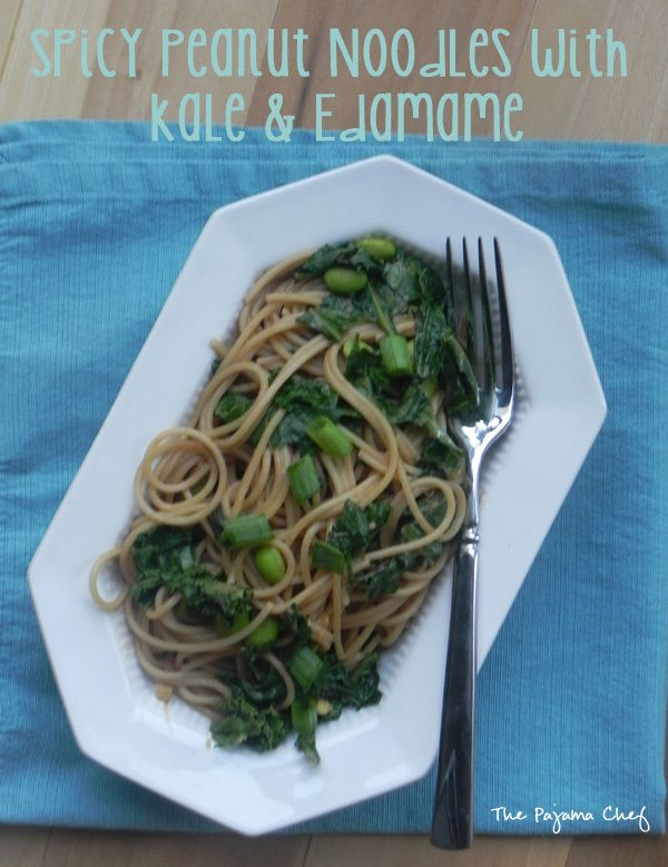 Spicy Peanut Noodles with Kale and Edamame | thepajamachef.com