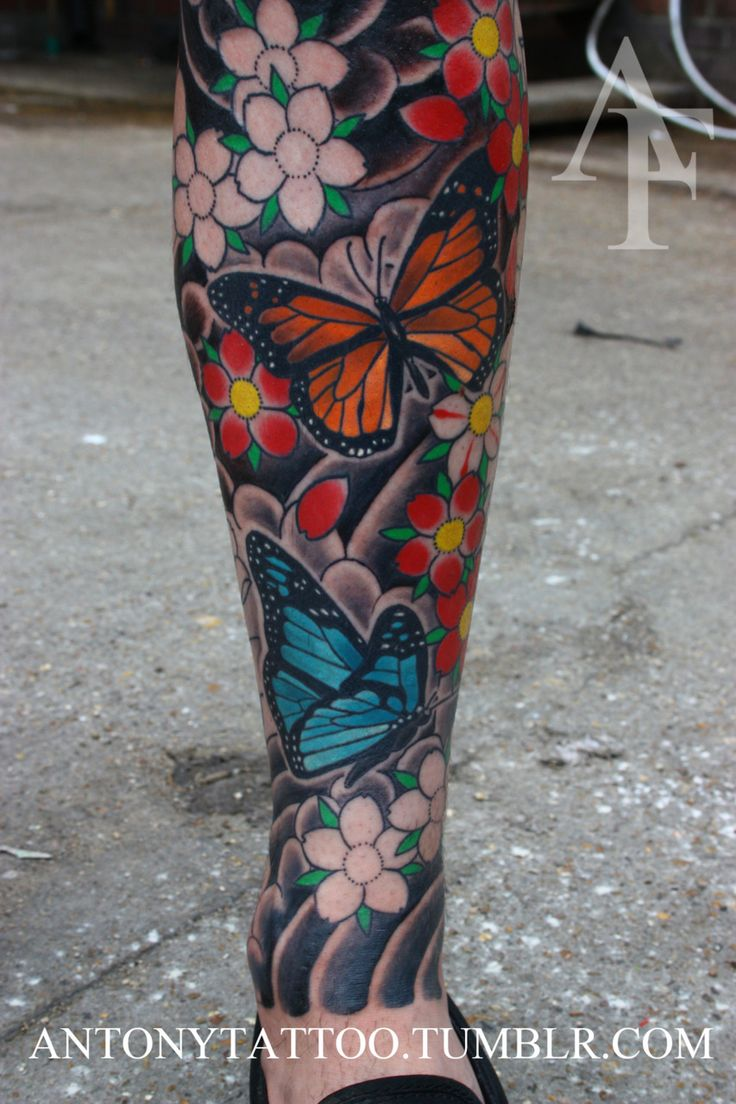 Japanese calf tattoos by durb - I Do Believe This Is One Of My Favorite Butterfly Tattoos Ever